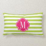 Rayas de la verde lima con el monograma de las ros almohada
