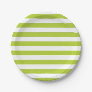 Rayas de la verde lima plato de papel de 7 pulgadas