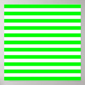 Rayas de la verde lima poster