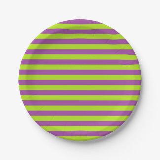 Rayas de la verde lima y de la púrpura plato de papel de 7 pulgadas