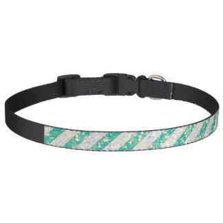 Rayas de la verde menta del brillo collar de perro