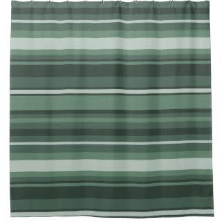Rayas de la verde salvia cortina de baño