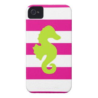 Rayas de las rosas fuertes y Seahorse verde Case-Mate iPhone 4 Funda