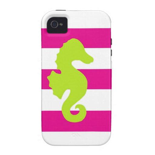 Rayas de las rosas fuertes y Seahorse verde Case-Mate iPhone 4 Carcasas