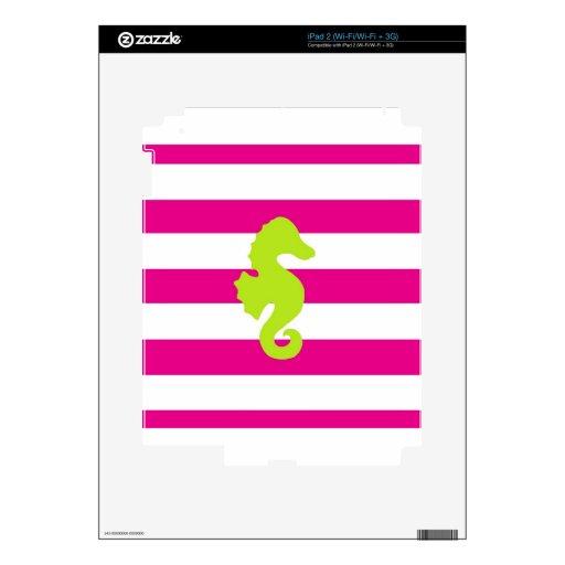 Rayas de las rosas fuertes y Seahorse verde iPad 2 Calcomanía