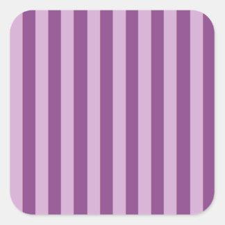 Rayas de Lila Calcomanía Cuadrada Personalizada