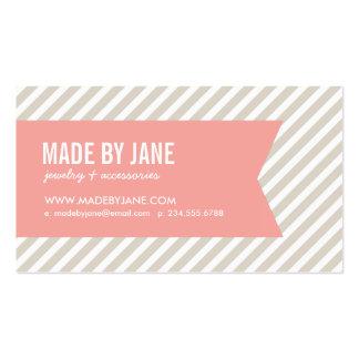 Rayas de lino y cinta modernas beige y rosadas tarjetas de visita