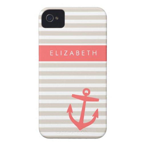 Rayas de lino y monograma beige y coralinos del iPhone 4 Case-Mate fundas