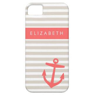 Rayas de lino y monograma beige y coralinos del iPhone 5 fundas