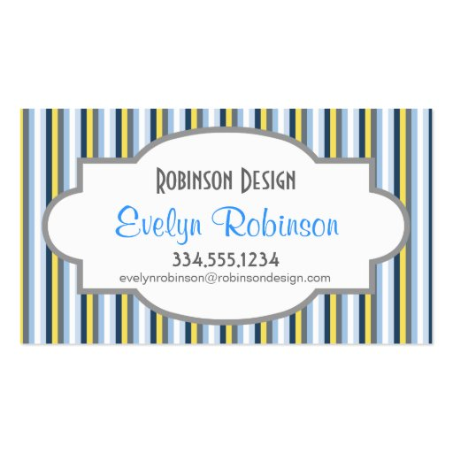 Rayas de los azules marinos, azules claras, amaril tarjeta personal