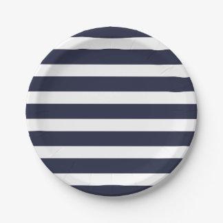 Rayas de los azules marinos y del blanco plato de papel de 7 pulgadas