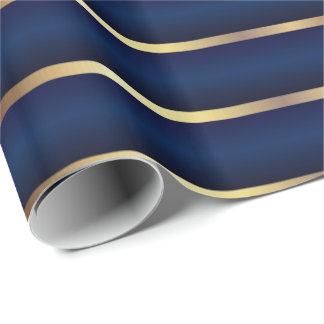 Rayas de los azules marinos y del oro papel de regalo
