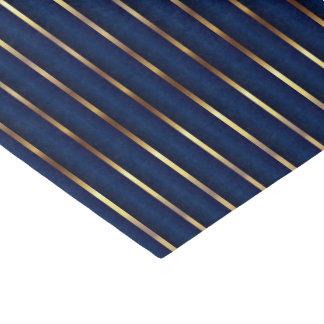 Rayas de los azules marinos y del oro papel de seda pequeño