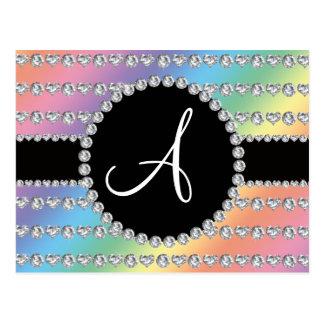 Rayas de los corazones del diamante del arco iris  tarjeta postal