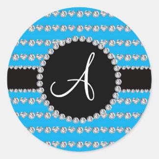 Rayas de los corazones del diamante del azul de etiquetas redondas