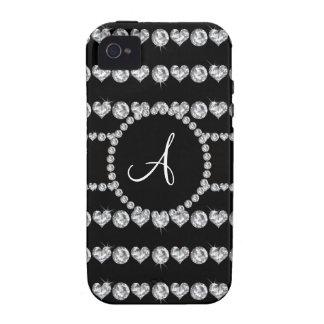 Rayas de los corazones del diamante negro del mono Case-Mate iPhone 4 funda