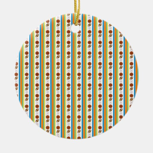 Rayas de los deportes adorno navideño redondo de cerámica