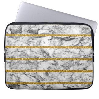 Rayas de mármol blancas negras del efecto del funda portátil