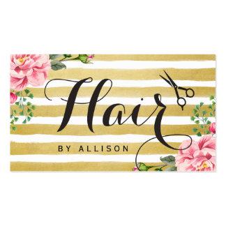 Rayas de moda del oro de la tarjeta de la cita del tarjetas de visita