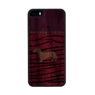 Rayas de neón de la cebra del brillo de las rosas funda de madera para iPhone 5