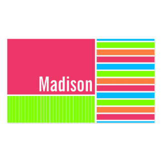 Rayas de neón modernas; Verde azul rosado Tarjetas De Visita
