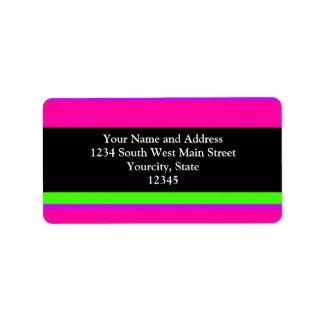 Rayas de neón rosadas/verdes etiquetas de dirección