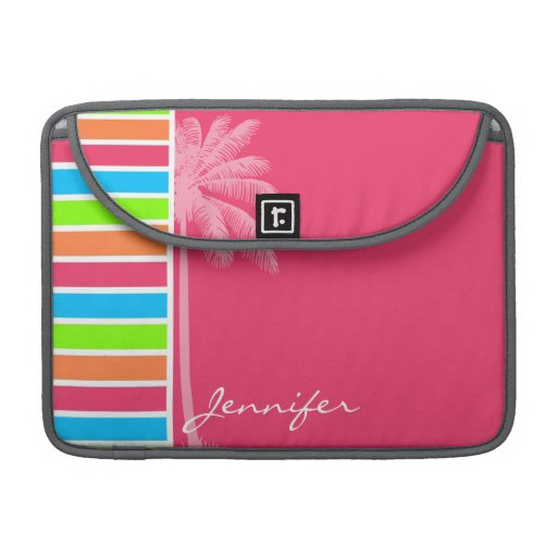 Rayas de neón tropicales; Verde azul rosado Funda Para Macbooks