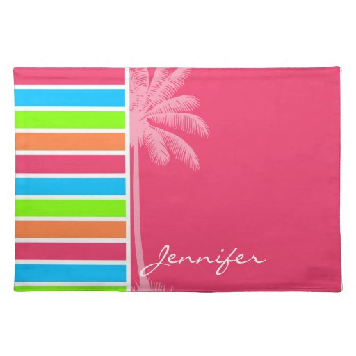 Rayas de neón tropicales; Verde azul rosado Mantel