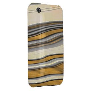 Rayas de oro #1b iPhone 3 Case-Mate coberturas