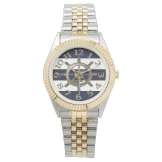 Rayas de oro de la marina de guerra de la rueda relojes de mano