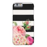 Rayas de PixDezines/rosas ajustables del vintage Funda De iPhone 6 Barely There