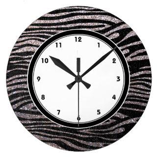 Rayas de plata de la cebra falso brillo bling reloj de pared