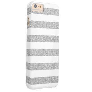 Rayas de plata elegantes del brillo funda de iPhone 6 plus barely there