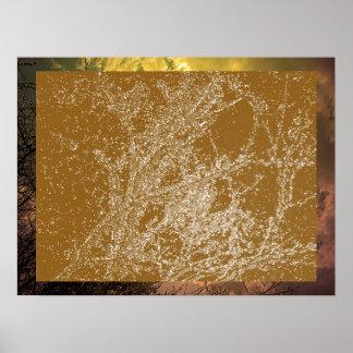 Rayas de plata en la placa de oro poster