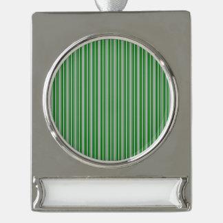 Rayas de plata y verdes del navidad adornos navideños plateados