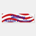 Rayas de señora presidente Hillary de la pegatina  Pegatina De Parachoque