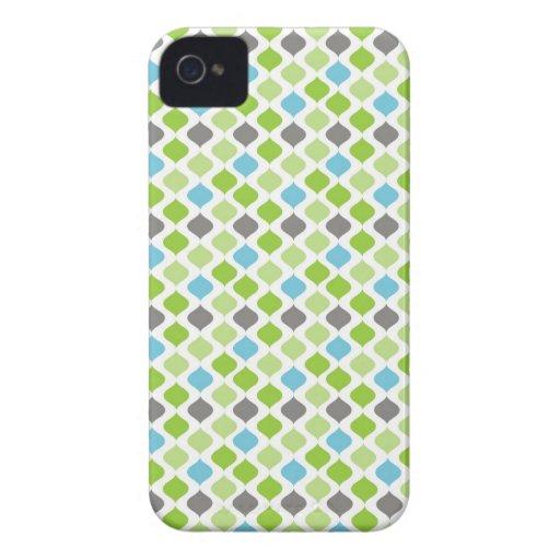 """Rayas de """"Vanesa"""" en verde, azul y gris iPhone 4 Case-Mate Cárcasas"""