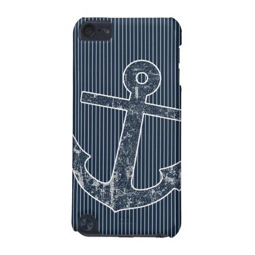 Rayas del ancla de los azules marinos funda para iPod touch 5G