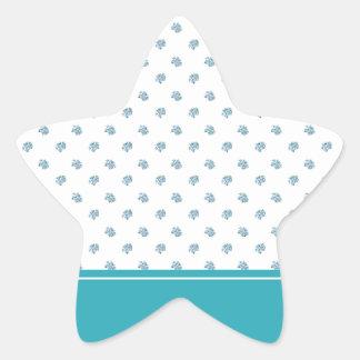 Rayas del Aquamarine y flores azules claras Calcomanía Forma De Estrella Personalizadas