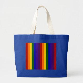 Rayas del arco iris bolsa tela grande