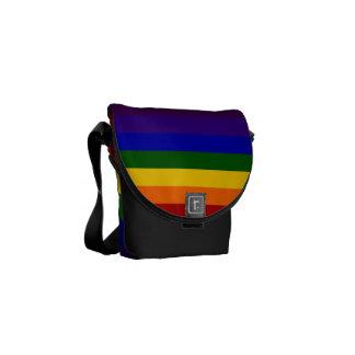 Rayas del arco iris bolsa de mensajeria