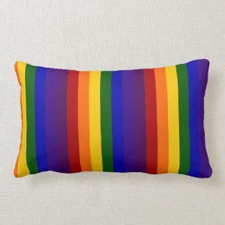 Rayas del arco iris cojín