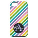 Rayas del arco iris de la primavera con el monogra iPhone 5 Case-Mate funda