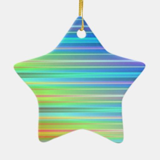 Rayas del arco iris adorno de cerámica en forma de estrella
