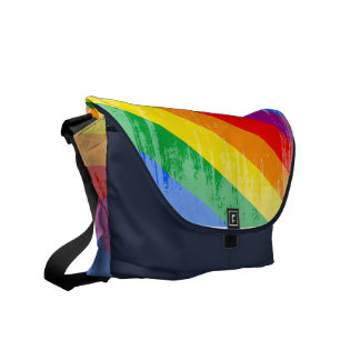 Rayas del arco iris del vintage bolsas messenger
