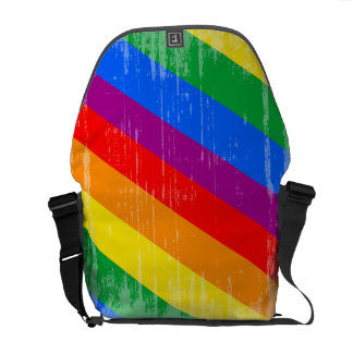 Rayas del arco iris del vintage bolsa de mensajeria
