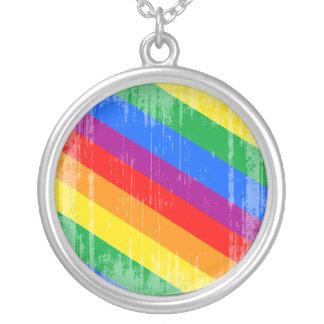 Rayas del arco iris del vintage colgante personalizado