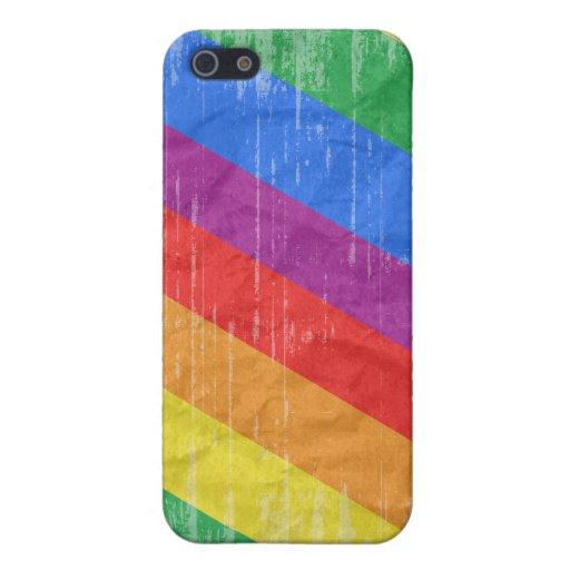 Rayas del arco iris del vintage iPhone 5 cárcasas