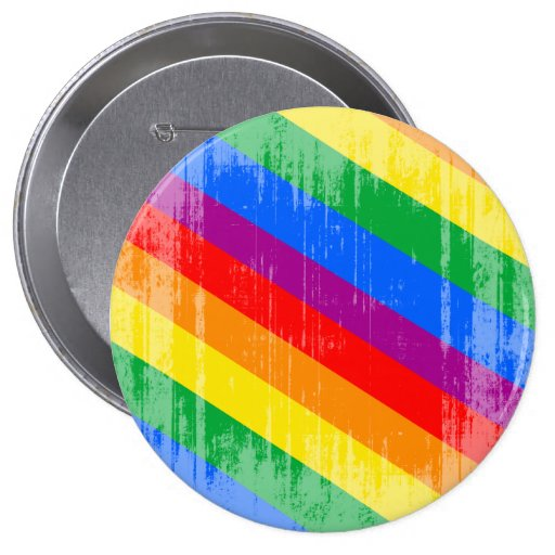Rayas del arco iris del vintage pin redondo 10 cm