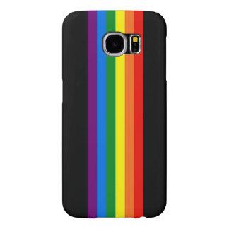 Rayas del arco iris en ayuda negra del orgullo gay fundas samsung galaxy s6